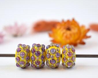 Artisan lampwork bead set, yellow bumpy bead set, boho yellow beads, murano bead set, purple polka dots, sra lampwork, 4 bead set