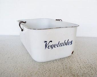 Large Enamelware Vegetable Bin Vintage Refrigerator Box Food Storage Metal 1930s Enamel