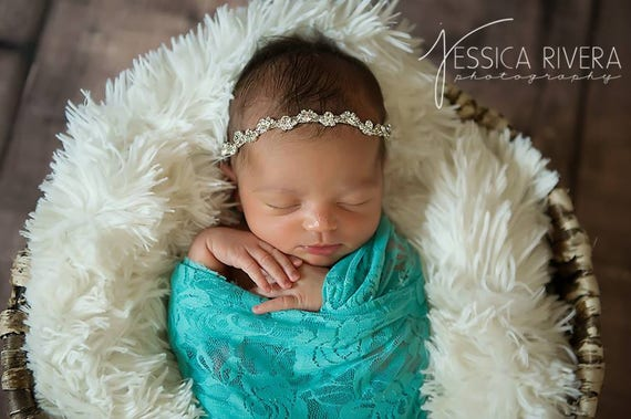 Aqua stretch lace swaddle wrap and/or silver rhinestone headband for newborn photo shoots, bebe foto, baby swaddle, by Lil Miss Sweet Pea