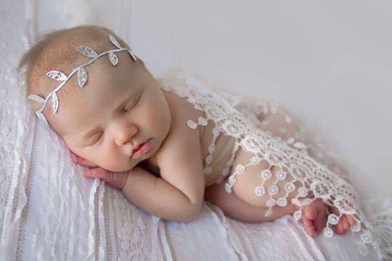 White Newborn Baby Lace Wrap with Fringe AND/OR Silver or Gold Leaf Headband - photo shoots, bebe, foto, photographer, Lil Miss Sweet Pea