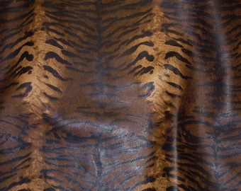 """Leather ONE ONLY 8""""x10"""" Zebra / Tiger Caramel, Brown and BLACK (not hair on) Striped Cow hide 2.5-3 oz / 1-1.2 mm PeggySueAlso™ E6660-01"""