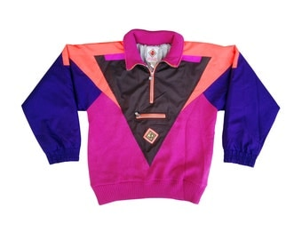 Vibrant 80s JD Sun Valley Knit Sweater / Nylon Combo Pullover Jacket - L