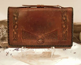 Vintage / Antique Art Deco Leather Clutch / Hand Tooled Bag / Vollard Leathercraft Purse