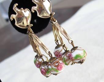Wedding Cake Bead Earrings, Vintage 1950s Murano Italy, Venetian Beads, Pink Roses Jewelry