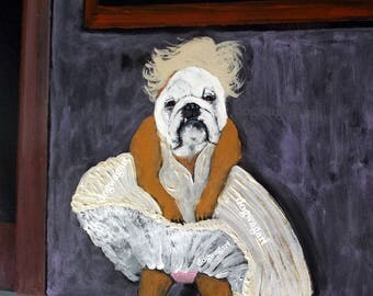 "English Bulldog Art Print of an original oil painting, Marilyn Monroe,8"" x 10"""