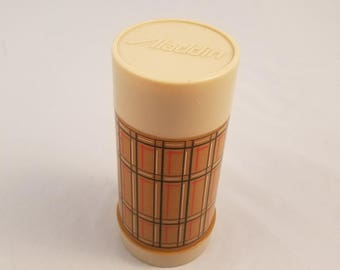 Aladdin Best Buy Vacuum Bottle 10 oz Wide Mouth Thermos Brown Plaid 70s