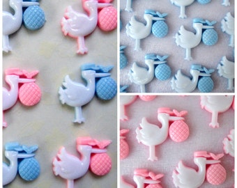 """1"""" Blue Stock or Pink Stork Baby Charms, Baby Boy Shower, Embellishment, Baby Shower Decoration, Card Making, Favor Accents, 12 pieces"""