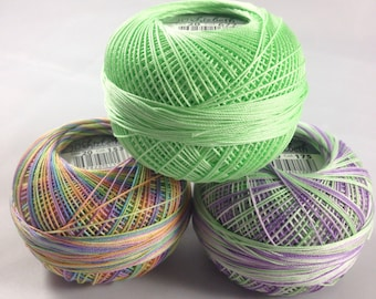 Lizbeth Tatting Thread - Size 20 - Made by Handy Hands - Green rainbow Thistle Three Pack - Colors 677, 153 and 175 - Your Choice of Amount