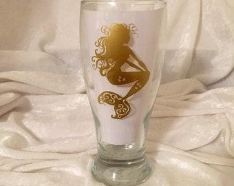 """19 oz. """"I'd Rather Be a Mermaid"""" Pilsner Beer/Beverage Glass"""