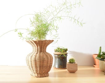 """Wicker Vase Basket 9"""" tall, Hand Woven Reed Basket, Natural Decor, Unique Gift"""
