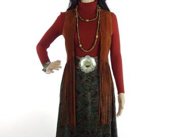 Lovely 60s/70s Hippie Paisley Velvet Maxi Maxi Skirt In Size XXS