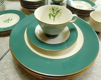 Vintage  Homer Laughlin Cavalier Eggshell Lily of the Valley china set. 45 pieces