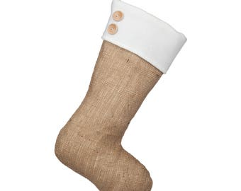 Classic Burlap Stocking - Burlap with Fleece Cuff & Two(2) Wooden Buttons - Single Stocking (1)