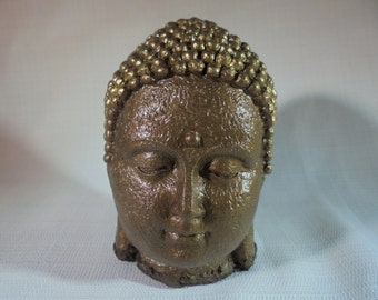 Handmade Bronze Buddha With Gold Crown, SHIPPING INCLUDED