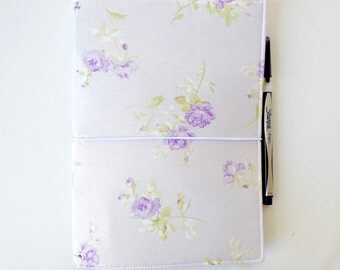 LEUCHTTURM1917 Leuchtturm 1917 cover Shabby Chic Purple Rose Wide Midori Fauxdori Fabric Travelers Notebook Wide Faux Dori Moleskine Planner
