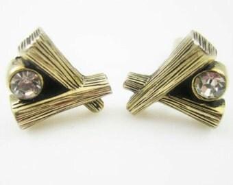 Gold Rhinestone Cufflinks, Open X Cuff Links, Modernist Gold Cufflinks, Abstract Theme Cuff Links, Clear Rhinestone Accent, Men's Jewelry