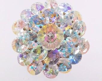 Vintage Crystal Cluster Pin, Margarita Crystal Stone Brooch, Rhinestone Tip Crystals, Aurora Borealis Crystals, 1950's Brooches