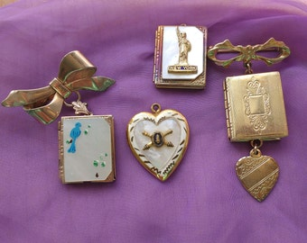 Vintage Locket Lot Victorian Style 1940's Statue of Liberty More Repurpose