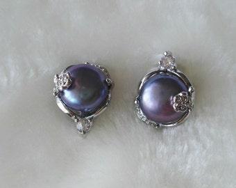 free shipping - freshwater pearl earrings,  black pearl earrings, 11-12 mm black pearl earrings