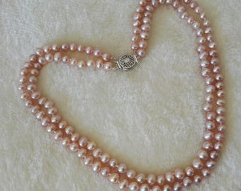 free shipping- pearl necklace,double rows 6-7 mm lavender freshwater pearl necklace
