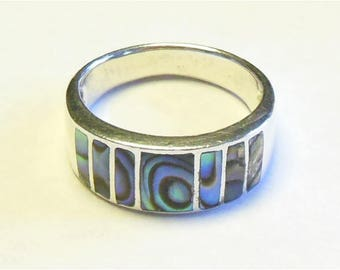 SALE Vintage Sterling Silver Abalone Shell Signed NF Band Size 8