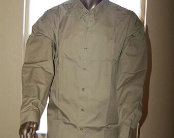 5XL CMODC Button shirt Big Tall Long Sleeve beige Men work blank