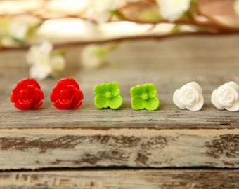 Flower Earring Studs Trio: Red Rose, Lime Green Sakura, White Tulip