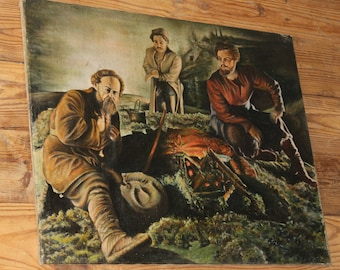 Vintage Unsigned Original Oil Russian Men Painting