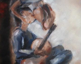 Art sale, Boy with a guitar, upside down kiss, romantic art, art for boyfriend, young love, couple kissing, impressionistic romantic art