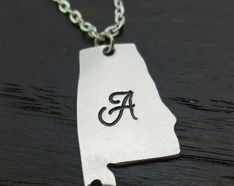 Custom State Pendant Necklace- Home is where the heart is- Long Distance Gifts, Hand Stamped by Miss Ashley Jewelry
