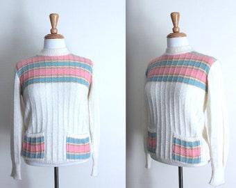 Vintage 70s cream / white, baby pink and baby blue jumper sweater - retro - Medium