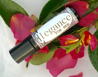 Elegance Perfume Oil For HER. Natural Perfume/Essential Oils/Alcohol-Free. With Real Plumeria, Creamy Vanilla and Exotic Jasmine/ Floral