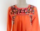 Vintage Mexican embroidered summer boho dress / night gown / Orange Maxi Dress / Pumpkin Orange / Beach Cover-up