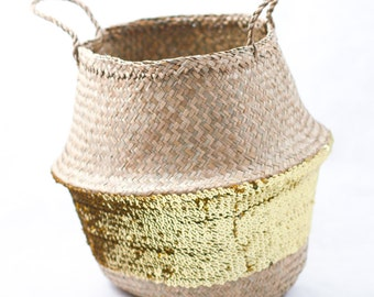 Gold sequin seagrass belly basket - Handcrafted - Home storage, plant holder, accessory - Straw bag