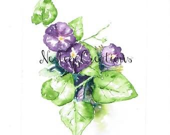 Orginal Watercolor Blue Morning Glory Painting Handmade Garden Botanical Wall Art