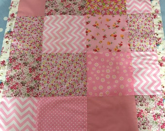 Pink patchwork quilt,throw,bedding,cot,pram,lap,bedspread,blanket,bedding in pink  cotton fabrics