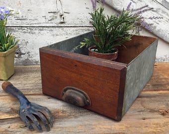 Antique Wooden and Galvanized Hardware Store Drawer / Bin - Bin Pull Handle