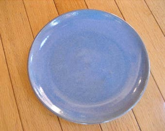 "Vintage Rowantrees Pottery 7.5"" Plate ""Mist Blue"" Glaze 1996 Blue Hill Maine Art Pottery Signed Dated"