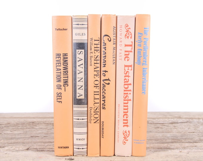 Old Books / Vintage Books / Orange Beige Decorative Books / Orange Books / Antique Books Vintage Mixed Book Set / Books by Color for Decor