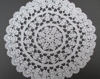 Crocheted Doily-Silver-11 Inch Diameter-Gray Doily