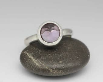 Faceted Amethyst & Sterling Ring, Pale Purple, Unique Cocktail Ring, February Birthstone, Size 7