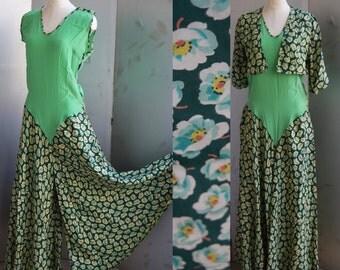 Vintage 1930s Beach Pajamas - Rare Late 20s Early 30s Silk and Rayon Wide Leg Beach Beach Pyjama Loungewear Pantsuit