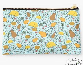 Capybara Zipped Pouch, Capybara Pencil Case, Capybara Cosmetic Bag, Capybara Purse, For Capybara Fans, Cute Capybara Gift, Capybara