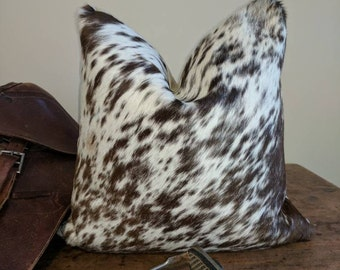 Brazilian Cowhide Pillow Cover fits 20x20 inch pillow / Brown spotted Hair-on-Cowhide / genuine cowhide pillow cover
