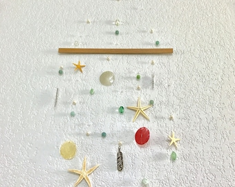 Sea star and capiz shells wall art/pearls\ocean/colorful\adult,baby/delicate\metal feathers/nature