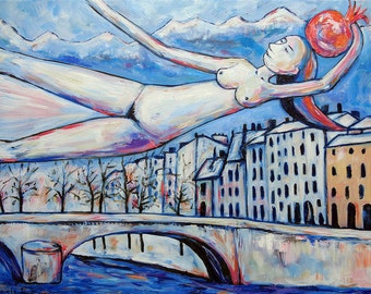 Modern oil painting on canvas GIRL FLYING with magic pomegranate over the town artwork by Elisaveta Sivas