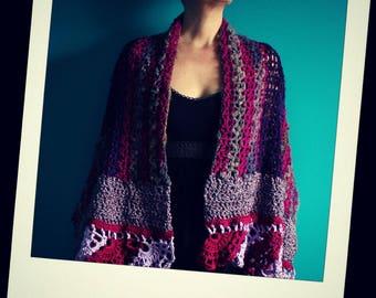 Crochet Shawl,Knit Shawl,Handmade Wrap,Crochet Scarf,Stole,Cape,Womens Clothing,Gypsy Clothing,Hippie Clothes,Boho Chic,Unique,Pink,Purple
