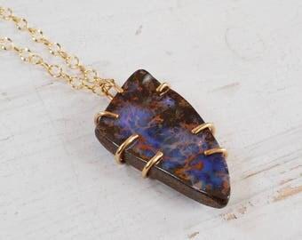 Australian Boulder Opal Necklace, Gold Filled Prong Set Pendant Necklace, Raw Opal Pendant, Gold Gemstone Necklace, Stone Statement Necklace