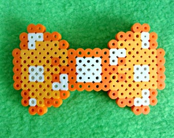 8-Bit Orange Hair Bow ~ Perler Bead Sprite