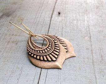 Tribal Drop Earrings Egyptian Style, Boho Day jewelry, Ethnic Earrings Geometric, Long Dangle Earrings, Brass Jewelry